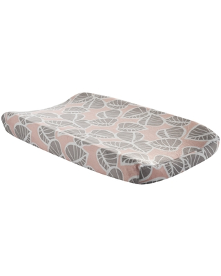Lambs & Ivy Calypso Pink/Taupe Leaf Print Baby Changing Pad Cover (Synthetic Fiber)