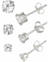 eeab4d6a5d24a Charming Girl Kids' Sterling Silver Crystal Stud Earring Set - 3 Pair,  Women's, White