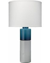 Jamie Young Copenhagen White and Navy Glass Table Lamp