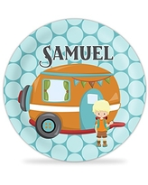 Green Dots Gingerbread Boy Melamine Personalized Name Gift Gingerbread Plate