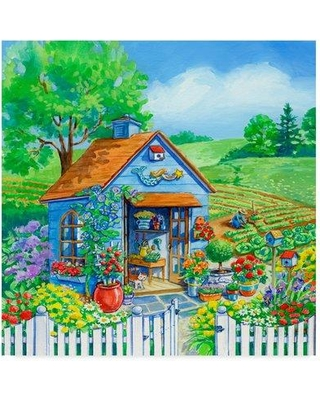 "Trademark Fine Art 'Garden Shed 1' Acrylic Painting Print on Wrapped Canvas ALI35125-CGG Size: 18"" H x 18"" W x 2"" D"