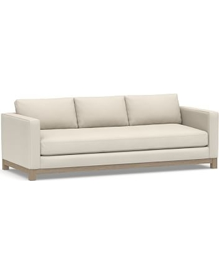 """Jake Upholstered Grand Sofa 95"""" with Wood Legs, Polyester Wrapped Cushions, Twill Cream"""