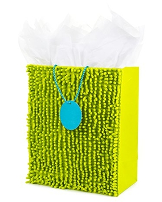 "Hallmark 13"" Large Fuzzy Gift Bag with Tissue Paper (Bright Green) for Birthdays, Easter, St. Patrick's Day, Fathers Day, Baby Showers or Any Occasion"
