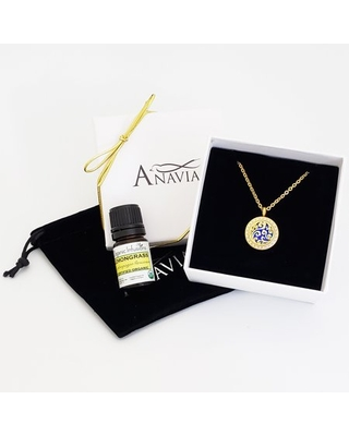 Anavai Aromatherpy Starter Kit Clouds Gift for Her Girlfriend Wife Diffuser Rhinestone Necklace & Organic Essential Oil Birthday Jewelry Gift Set - Gold Necklace & Lemongrass Oil