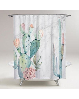 Bungalow Rose Rosen Marble and Succulents Shower Curtain BGRS6577