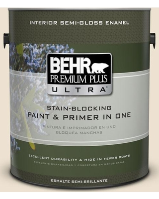 BEHR ULTRA 1 gal. #PPU7-15 Ivory Lace Semi-Gloss Enamel Interior Paint and Primer in One