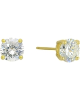 Cubic Zirconia Round Stud Earrings with 14k Gold Plating in Sterling Silver - Gold