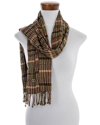 Green-Yellow-Peach Handwoven Cotton Scarf from Guatemala
