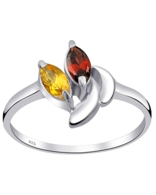 Multi Color Gemstones Sterling Silver Marquise Promise Ring by Orchid Jewelry (7 - Citrine)