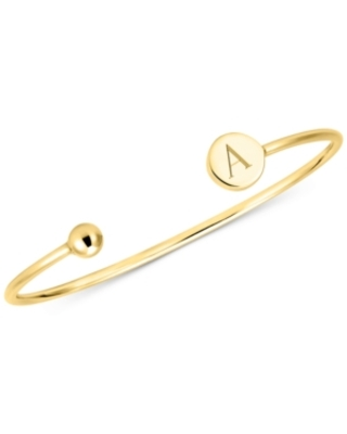 Sarah Chloe Initial Elle Cuff Bangle Bracelet in 14K Gold-Plated Sterling Silver