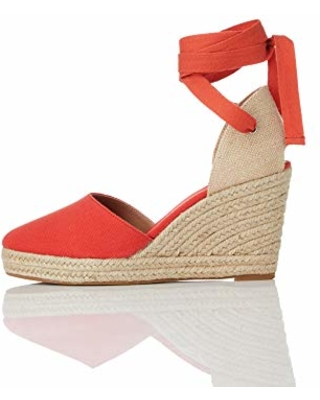 Amazon Brand - find. Women's Closed Toe Espadrille Wedge Sandal Red, US 8.5