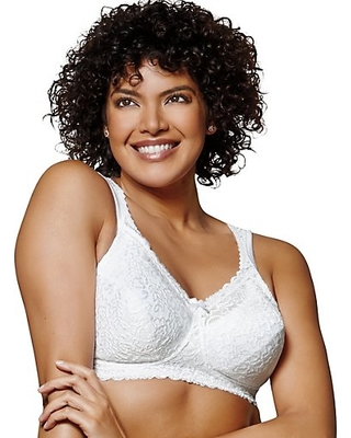 Playtex 18 Hour 4088 Breathable Comfort Lace Wirefree Bra White 36D Women's