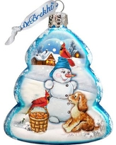 The Holiday Aisle Building A Snowman Glass Ornament THLY6671