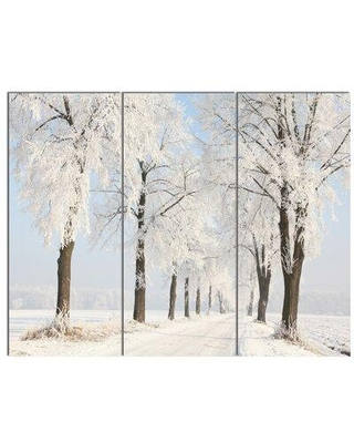 "Design Art 'Winter Lane on Sunny Morning' 3 Piece Photographic Print on Wrapped Canvas Set, Canvas & Fabric in White, Size Medium 25""-32"" 