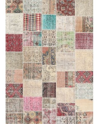 Contemporary Gray/Pink/Beige Area Rug