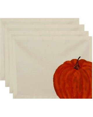 August Grove® Pickrell Pumpkin Holiday Print 4 Piece Placemat Set BUHS9234 Color: Ivory