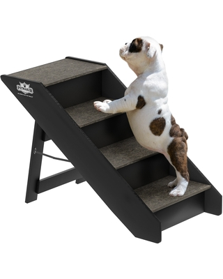 Folding Pet Stairs Carpeted Foldable Wood up to 80lbs by Petmaker (3 steps)
