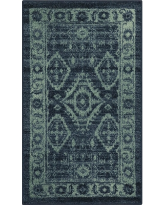 """Navy Tribal Design Tufted Oval Accent Rug 1'8""""X2'10"""" - Maples, Blue"""