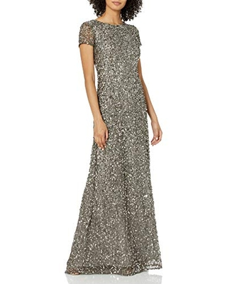 Adrianna Papell Women's Short Sleeve All Over Sequin Gown, Lead, 4