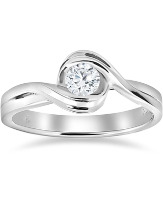 14K White Gold 1/2 ct TDW Diamond Solitaire Engagement Ring (6)