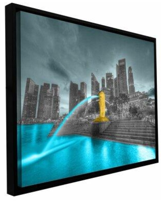 """ArtWall 'Singapore' by Revolver Ocelot Framed Photographic Print on Wrapped Canvas, Canvas & Fabric in Brown/Yellow/Black, Size 24"""" H x 36"""" W"""