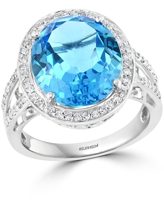 Effy Jewelry Blue Topaz Cocktail Ring with Diamonds in 14K White Gold, 8.86 TWC Size- 7 (7 - White - Blue)