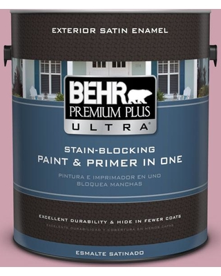 BEHR Premium Plus Ultra 1 gal. #100C-3 Birthday Candle Satin Enamel Exterior Paint and Primer in One