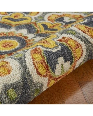 Darby Home Co Arla Floral Medallion Tufted Gray/Yellow Area Rug DRBH2188 Rug Size: Round 4'