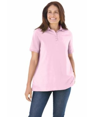 Plus Size Women's Perfect Short-Sleeve Polo Shirt by Woman Within in Pink (1X) | Cotton