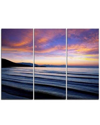 Design Art Blue Dramatic Sky over Layered Waves - 3 Piece Graphic Art on Wrapped Canvas Set PT10542-3P