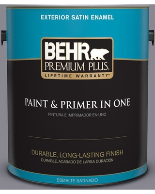 BEHR Premium Plus 1 gal. #N550-5 Box Office Satin Enamel Exterior Paint and Primer in One