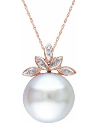 """Freshwater Cultured Pearl & Diamond Accent 10k Rose Gold Leaf Pendant Necklace, Women's, Size: 17"", White"""