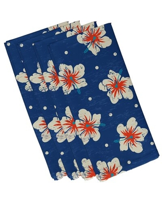 """Willems Hibiscus Blooms 4 Piece Napkin Set Bay Isle Home™ Size: 19""""W x 19""""L, Color: Blue"""