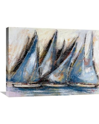 """Global Gallery 'Vele Blu' by Luigi Florio Painting Print on Wrapped Canvas GCS-379089 Size: 24"""" H x 32"""" W x 1.5"""" D"""