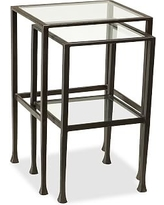 Tanner Metal & Glass Nesting Tables, Set of 2, Matte Iron-Bronze finish