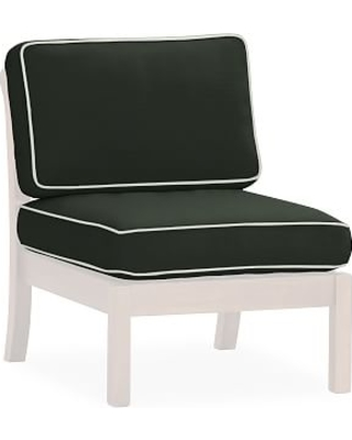 Sectional Right-Arm/Left-Arm/Armless Box Cushion Set, Sunbrella(R) Contrast Piped; Black
