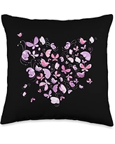 Butterfly Lover Cool Nature Butterflies Gifts Cool Heart Design Insect Nature Lover Butterflies Throw Pillow, 16x16, Multicolor
