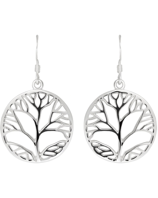 Handmade Delightful Leafs Tree Circle Outline Sterling Silver Dangle Earrings (Thailand) (Fashion)