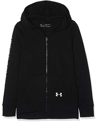 Under Armour Girls' Rival Fleece Full Zip Hoodie, Black (001)/Silver, Youth Small