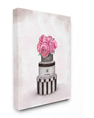 """Stupell Industries 30 in. x 24 in. """"Fashion Flower Box Stack Pink Painting""""by Ziwei Li Canvas Abstract Wall Art, Multi-Colored"""
