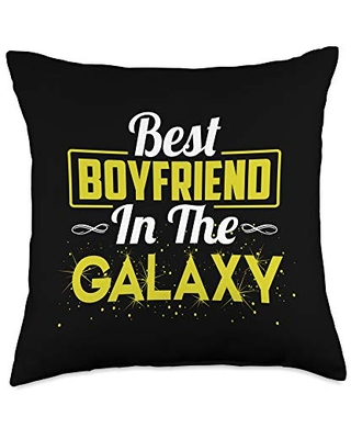 Boyfriend and Girlfriend Shirts Store Gifts Just A Boyfriend Best in The Galaxy Throw Pillow, 18x18, Multicolor