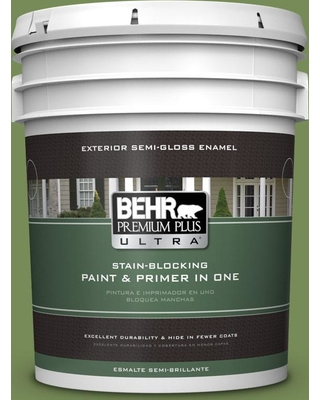 BEHR Premium Plus Ultra 5 gal. #MQ6-52 Lucky Clover Semi-Gloss Enamel Exterior Paint and Primer in One
