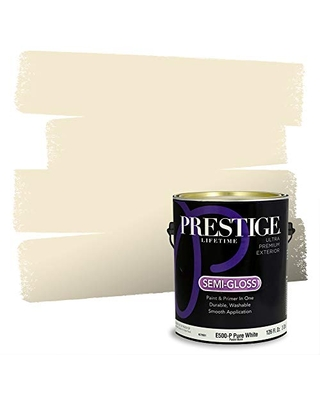 PRESTIGE Paints Exterior Paint and Primer In One, 1-Gallon, Semi-Gloss, Comparable Match of Benjamin Moore* Cameo White*