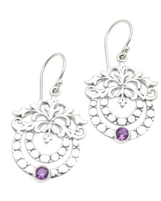 Hand Made Amethyst and Sterling Silver Dangle Earrings