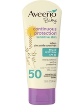 Aveeno Baby Continuous Protection Sensitive - Zinc Oxide With Broad Spectrum Skin Lotion Sunscreen - Spf 50 - 3 fl oz