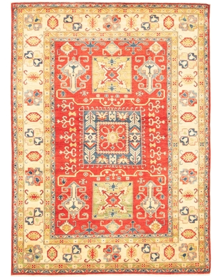 Hand-knotted Finest Gazni Red Wool Rug - ECARPETGALLERY - 6'8 x 9'4