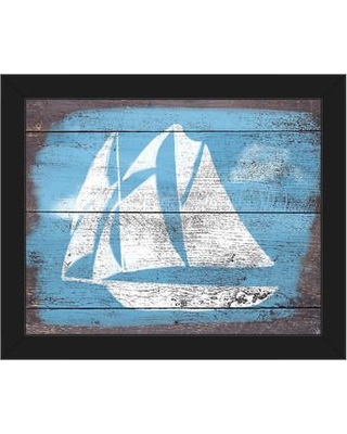 """Click Wall Art Sails and Seas Framed Painting Print on Canvas CCEE2046 Format: Black Framed Size: 13.5"""" H x 16.5"""" W"""