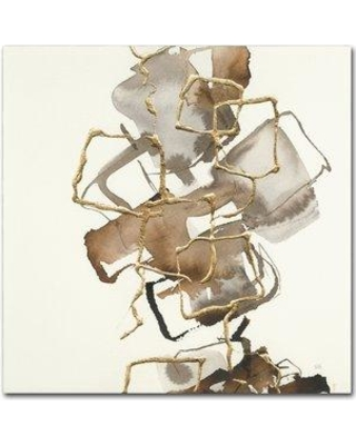 """Trademark Art 'Gold Squares I' Print on Wrapped Canvas WAP01507-C Size: 24"""" H x 24"""" W"""