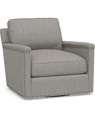 Tyler Square Arm Upholstered Swivel Armchair with Bronze Nailheads, Down Blend Wrapped Cushions, Sunbrella(R) Performance Sahara Weave Charcoal