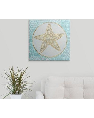 """Great Big Canvas 'Summer Shells IV Teal and Gold' by Kathrine Lovell Graphic Art Print 2434157_1 Size: 20"""" H x 20"""" W x 1.5"""" D Format: Canvas"""
